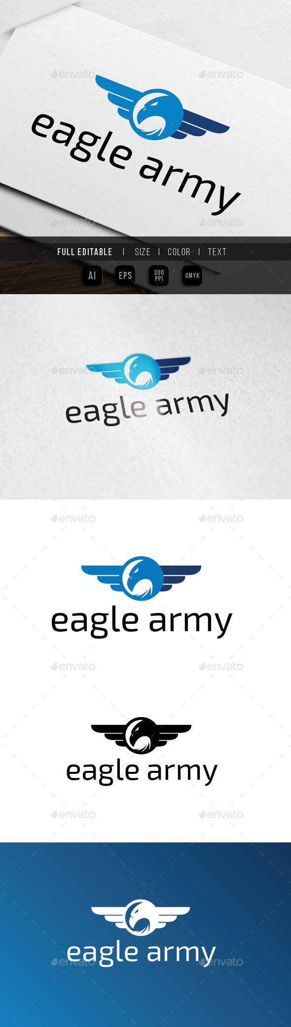 Eagle Wing - Army Badge - Animals Logo Templates