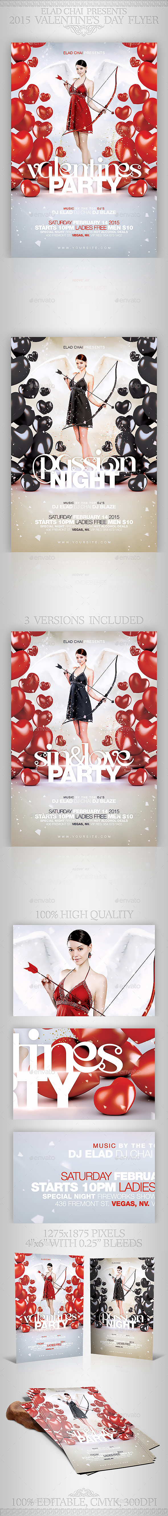 3 in 1 Valentine's Passion Flyer Template - Holidays Events