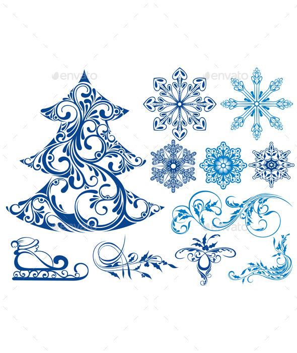 Set of Christmas Elements - Decorative Symbols Decorative
