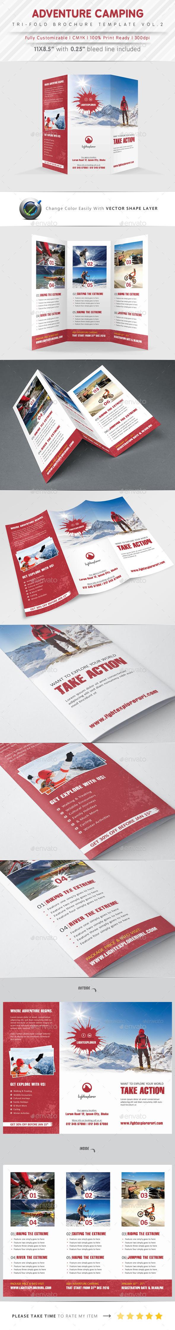 Adventure Camping Tri Fold Vol.2 - Brochures Print Templates