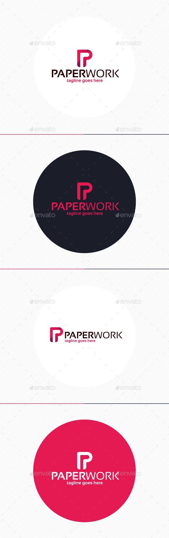 Paper Work Logo • Letter P - Letters Logo Templates