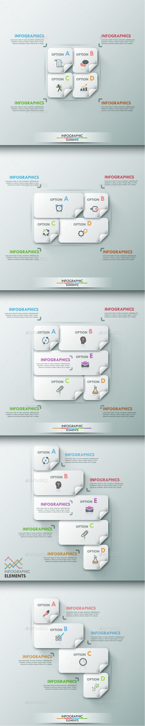 Modern Infographic Options Template (5 Items) - Infographics