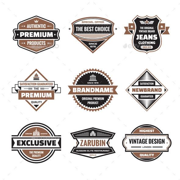 9 Labels & Badges - Vector Set - Decorative Symbols Decorative