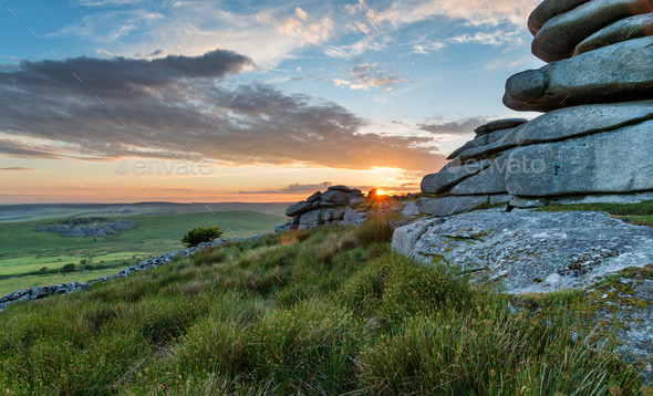 Beautiful Sunset on Bodmin Moor - Stock Photo - Images