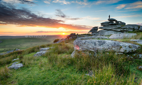 Sunset on Bodmin Moor - Stock Photo - Images