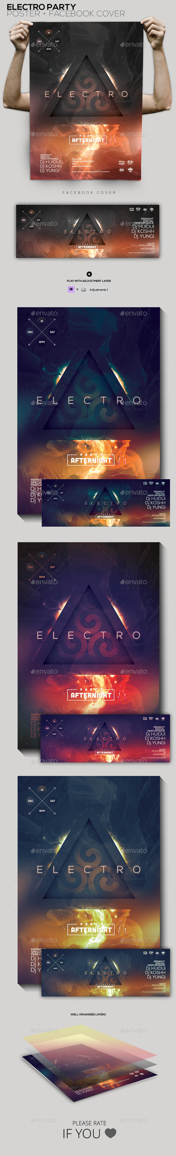 Electro Party Flyer/Poster/Facebook Cover - Clubs & Parties Events