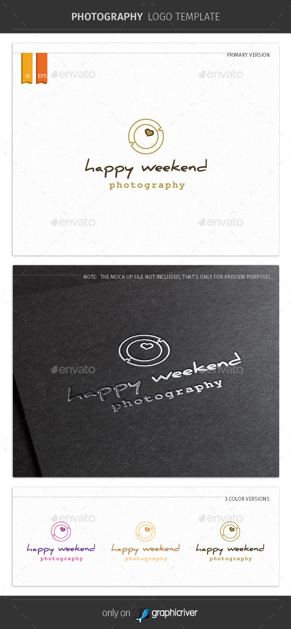 Happy Weekend Photography Logo Template - Symbols Logo Templates