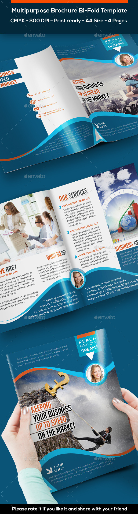 Bi-fold Brochure Template 4 Pages - Print Templates