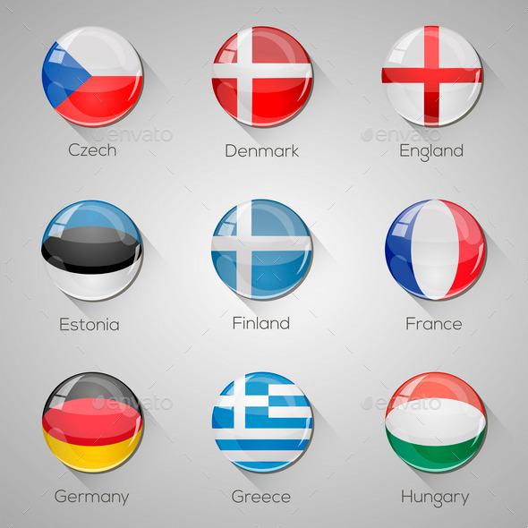 45 European Flags - Web Elements Vectors