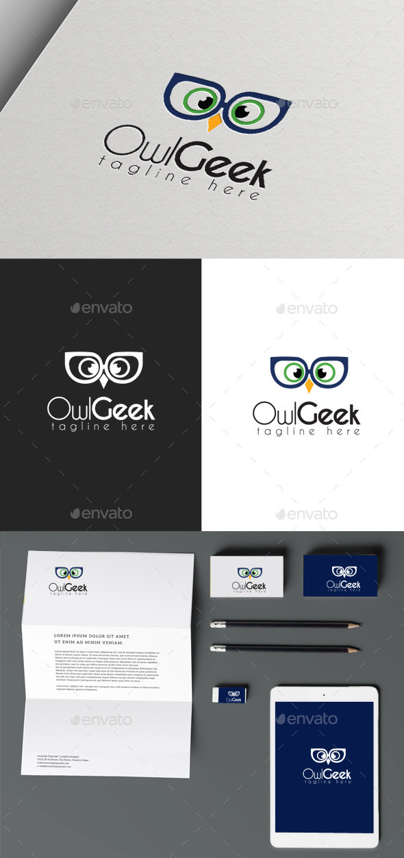 Owl Geek - Animals Logo Templates