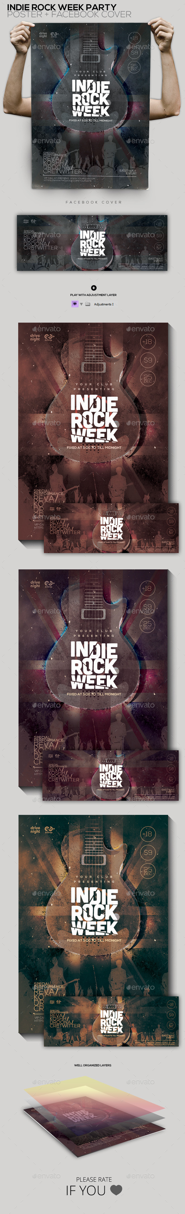 Indie Rock Week Party Poster/Facebook Cover - Concerts Events