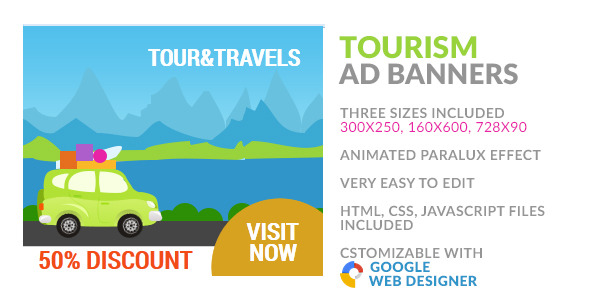 Tourism & Travel HTML5 Ad Banner - CodeCanyon Item for Sale