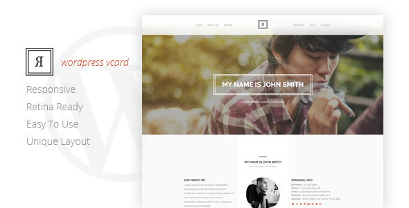 RIVAL One Page Vcard Wordpress Theme - Portfolio Creative