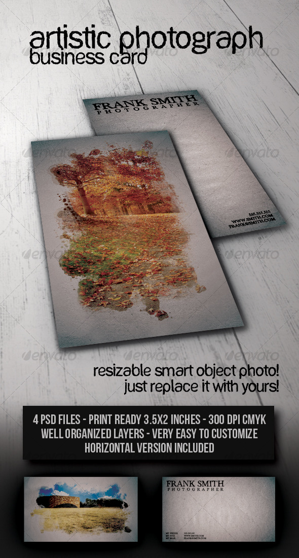 Artistic Photograph Business Card - Industry Specific Business Cards