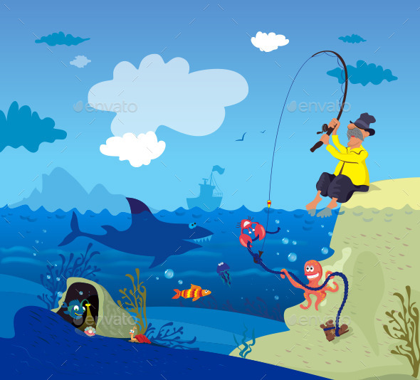 Fisherman and Underwater World - Vectors