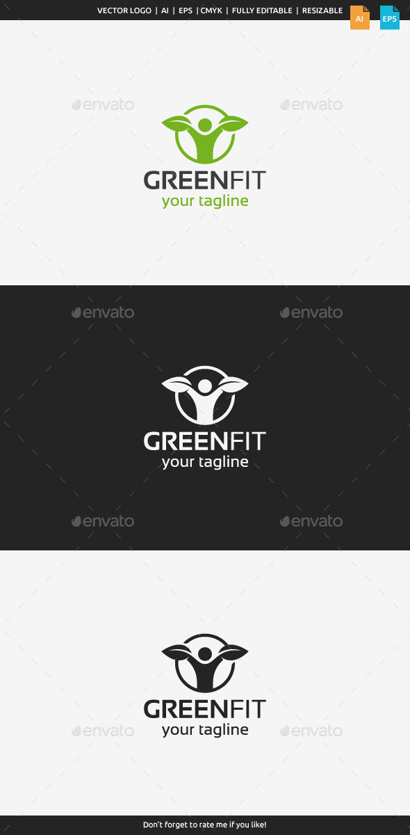 Green Fit Logo - Humans Logo Templates
