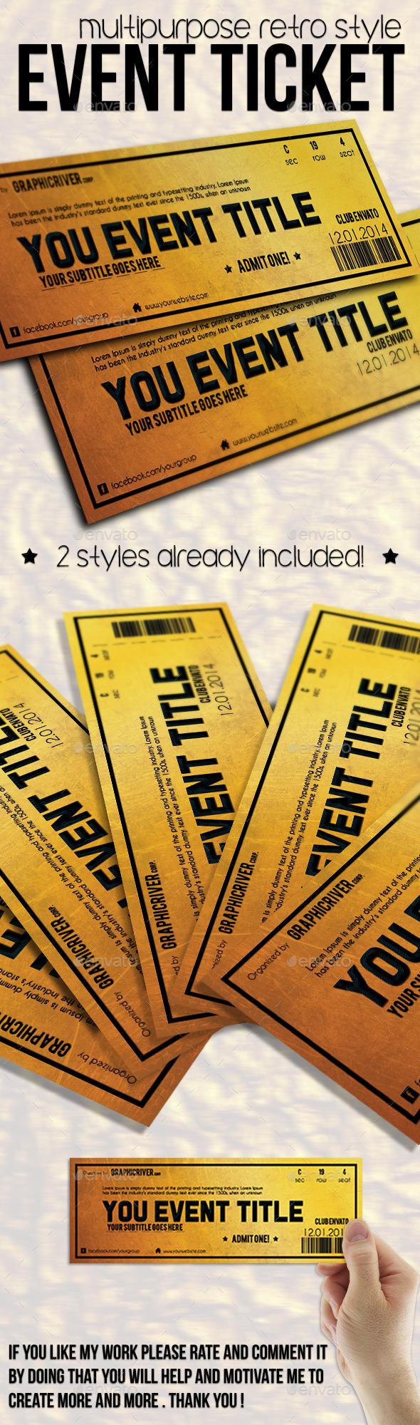 Multipurpose Golden Event Ticket - Cards & Invites Print Templates