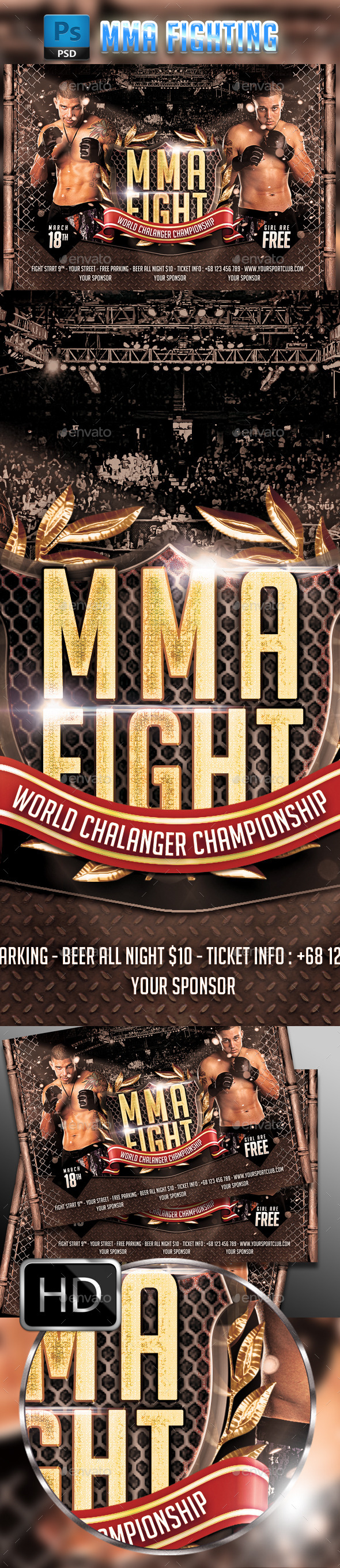 MMA Fighting Flyer Template #3 - Sports Events