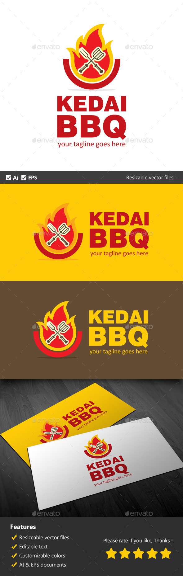 Kedai BBQ - Food Logo Templates