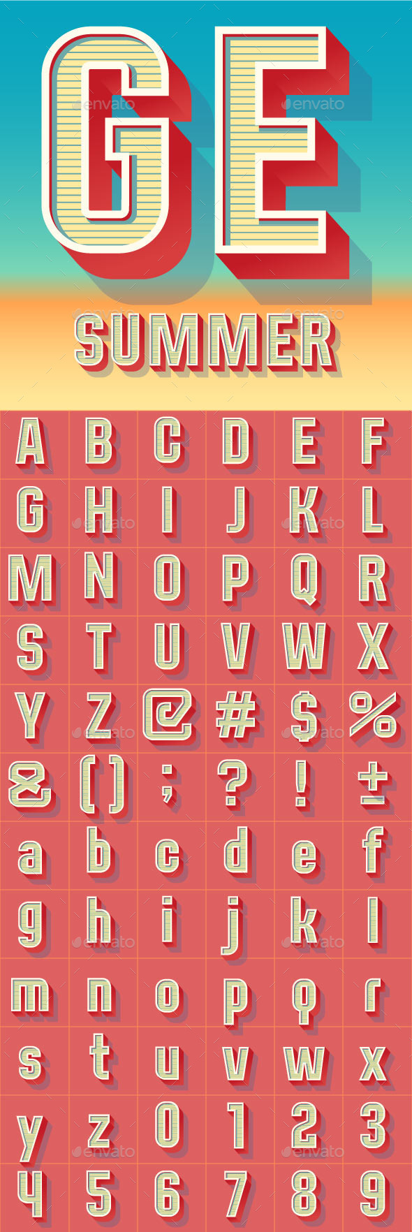 Summer Compact Alphabet - Decorative Symbols Decorative