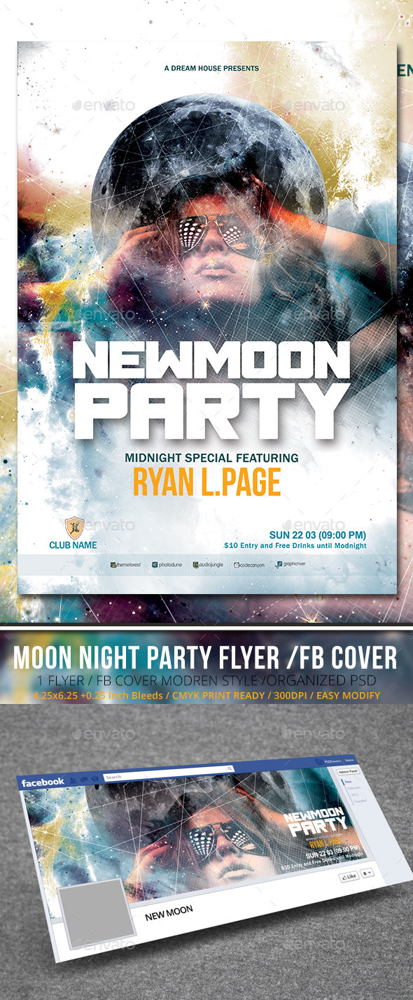 New Moon Party Flyer with Facebook Cover - Clubs & Parties Events