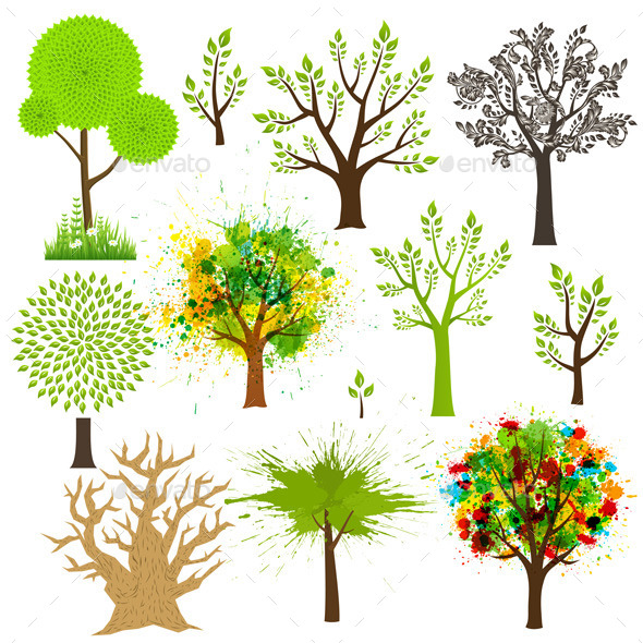 Tree Collection with Different Styles - Nature Conceptual