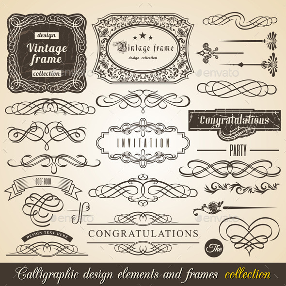 Vector Calligraphic Border And Corner Frames