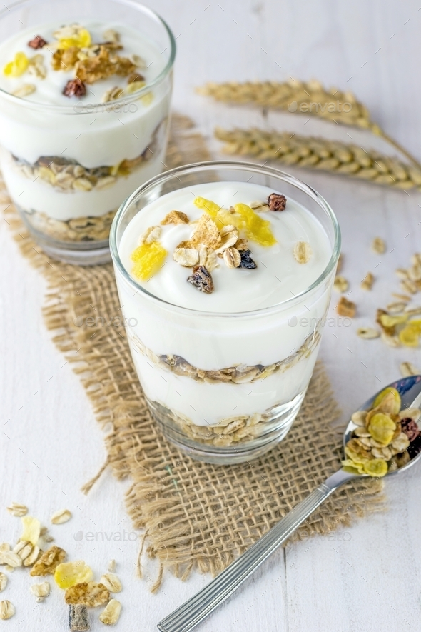 A Muesli and Yoghurt Breakfast  - Stock Photo - Images