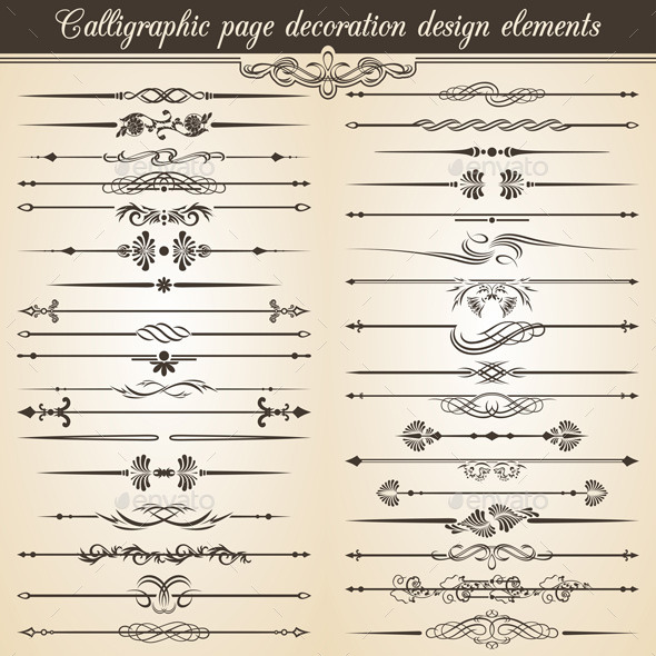 Calligraphic Vintage Page Decoration Design  - Web Elements Vectors