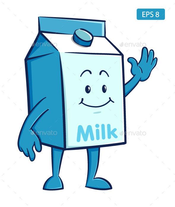 Milk Box Cartoon Character - Food Objects