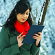 Using Tablet in Winter - VideoHive Item for Sale