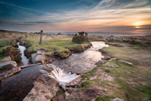 Sunset on Dartmoor - Stock Photo - Images