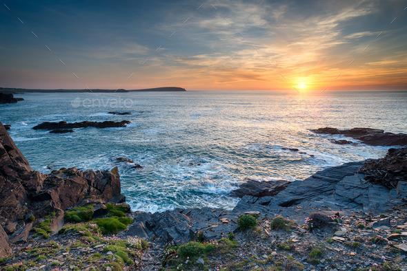 Sunset on the Cornwall Coast - Stock Photo - Images
