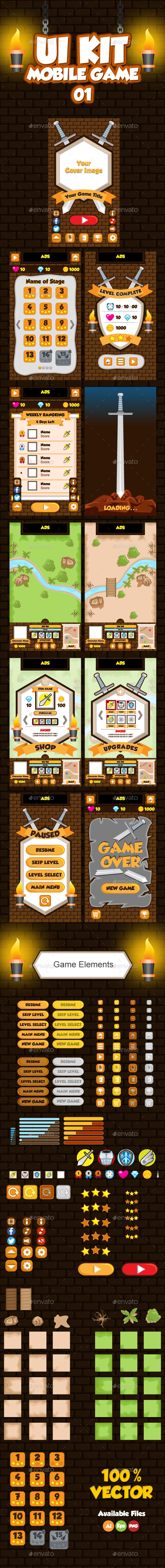 Mobile Game UI Collection 01 - User Interfaces Game Assets