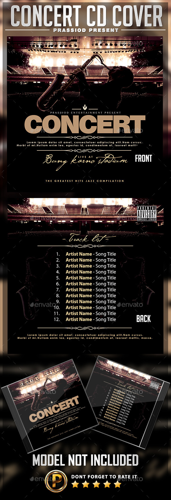 Concert Live CD Cover Template - CD & DVD Artwork Print Templates