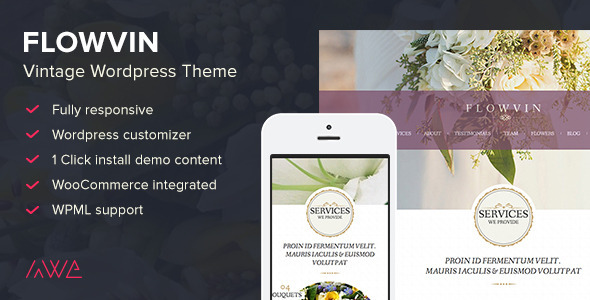 FlowVin – Vintage Flower Shop WordPress Theme