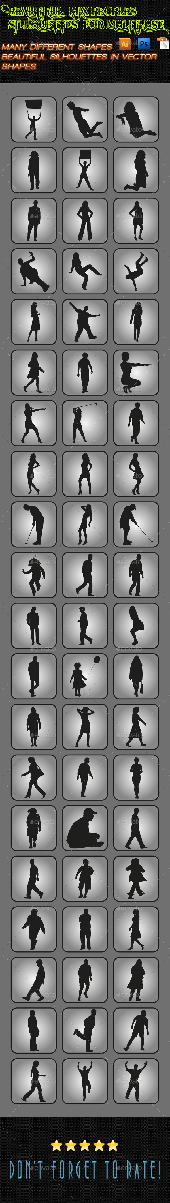Mix Peoples Silhouettes 04 - People Characters