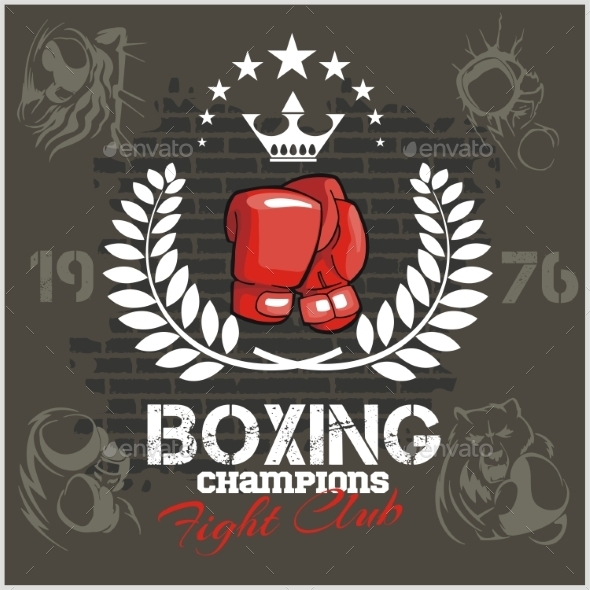 Boxing labels and icons set. Vector illustration. - Sports/Activity Conceptual