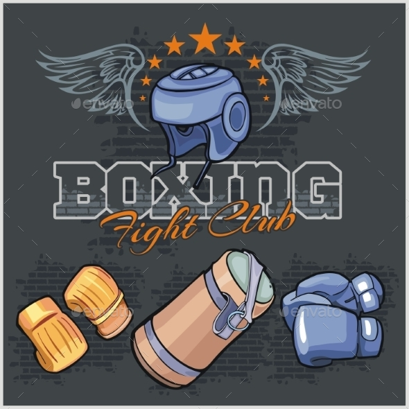 Boxing Labels and Icons Set - Sports/Activity Conceptual