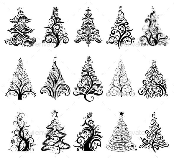 Set of Luxury Christmas Trees.  - Christmas Seasons/Holidays