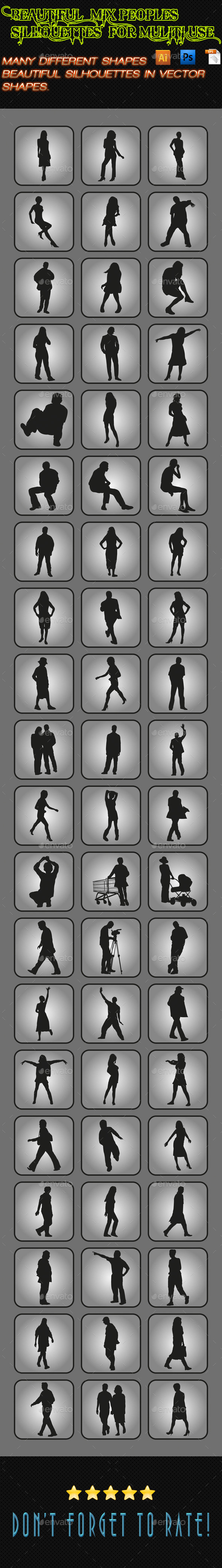 Mix Peoples Silhouettes 05 - People Characters