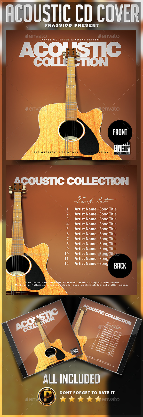 Acoustic CD Cover Template - CD & DVD Artwork Print Templates