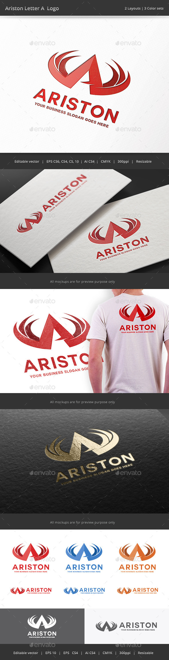 Ariston Letter A Logo - Letters Logo Templates