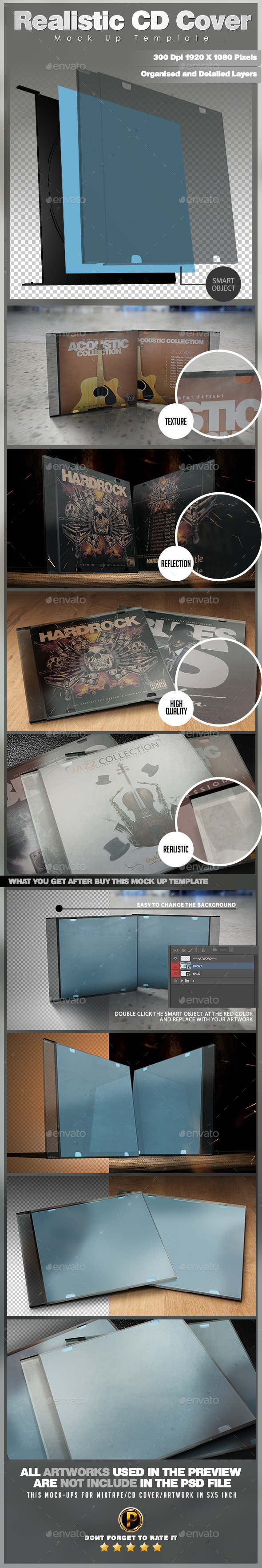 Realistic CD Cover Mock Up Template - Product Mock-Ups Graphics