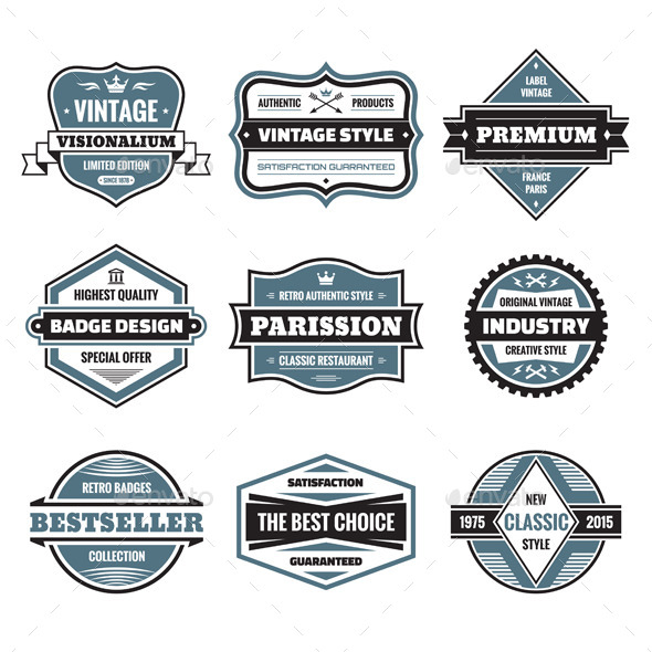 9 Labels and Badges - Decorative Vectors
