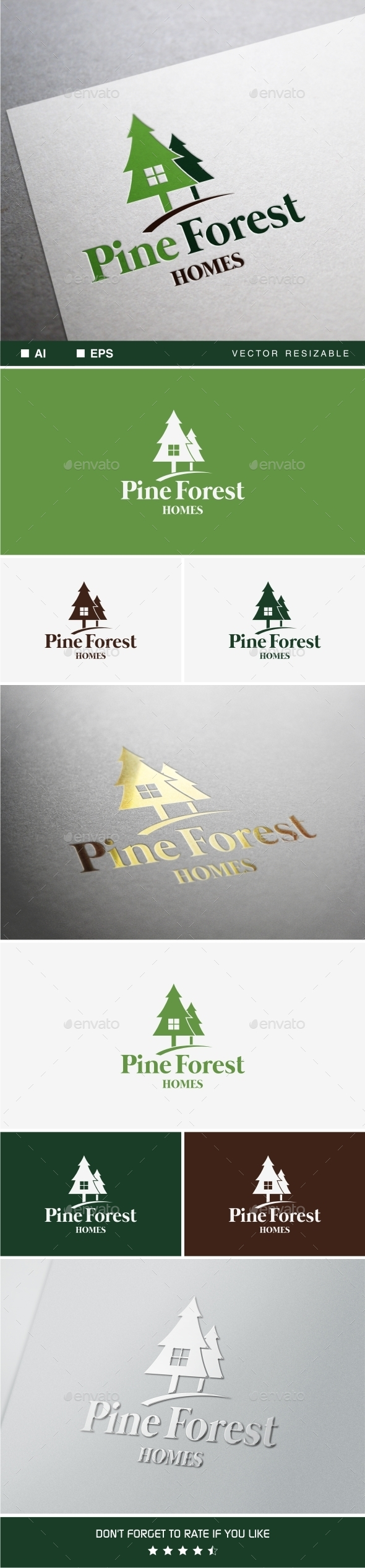 Pine Forest Home Logo - Buildings Logo Templates