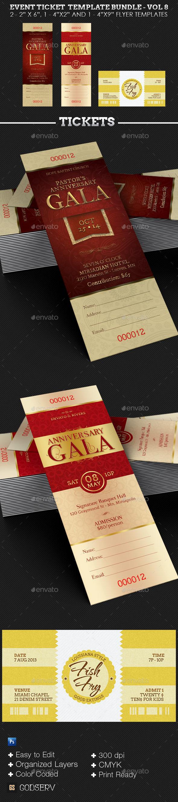 Event Ticket Template Bundle - Volume 8  - Miscellaneous Print Templates