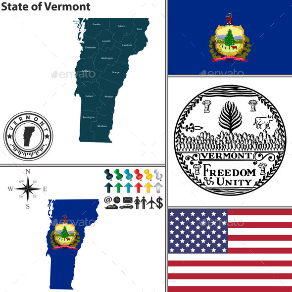 Map of State Vermont, USA - Travel Conceptual