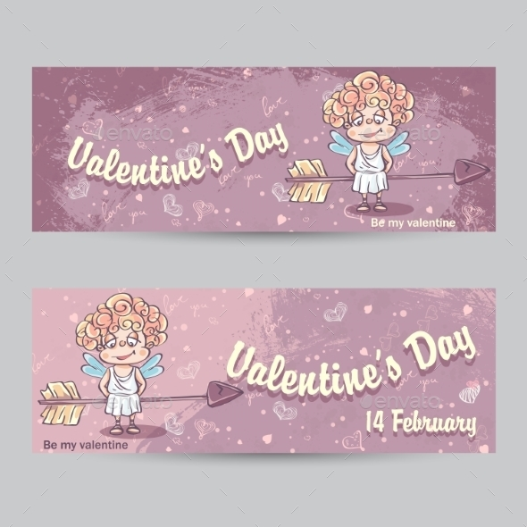 Set of Horizontal Greeting Cards for Valentine's Day - Valentines Seasons/Holidays