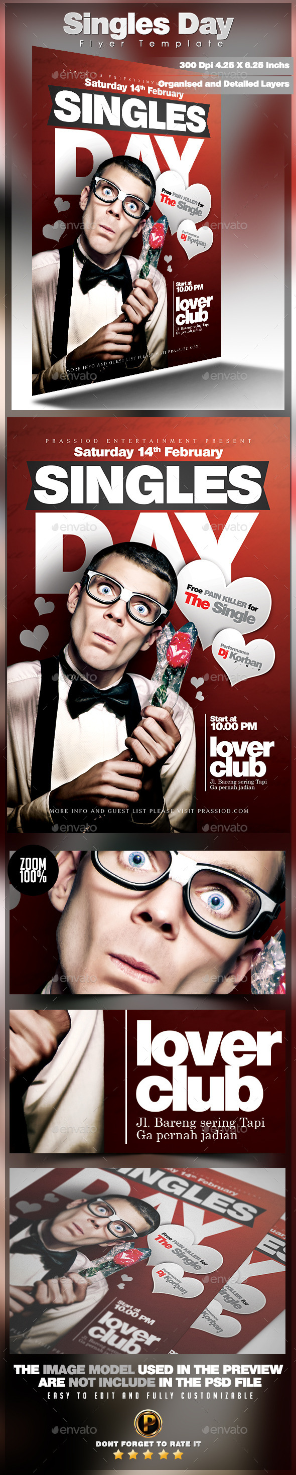 Singles Day Flyer Template - Clubs & Parties Events